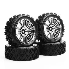 4pcs/set  PP0487+3MC  1/10 RC Rally Racing Off Road Car Rubber Tires Wheel Hub Rim Electroplated tires Toys Collections Gifts   #Affiliate