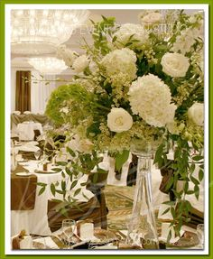 Love this loose look with lots of green and white foliage. White Floral Arrangements, Bliss, Reception, Events, Table Decorations, My Style, Green, Wedding, Ideas