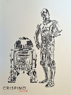These are the droid you're looking for! R2-D2 and C-3PO from Star Wars - Handmade portrait with the single lines technique.  Please find more on www.CrispinoLineArt.com or www.etsy.com/shop/CrispinoLineArt