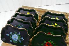 Miniature Heavy Metal Trays - Vintage 1940s ToleWare - Set of 8 - Shabby Chic / BoHo Bistro Display