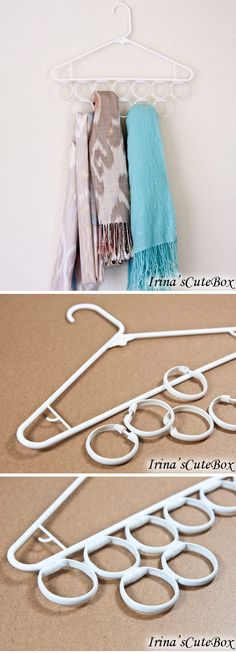 Inexpensive scarves holder idea made of a hanger and shower curtain rings. GENIUS