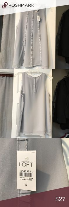 Loft, sleeveless top with vertical ruffles. Cute, grey top. New With Tag. Perfect for a day out or a date. Looks great with dark jeans. LOFT Tops Blouses