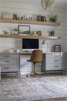 Awesome 40 Splendid Living Room Floating Shelves Design Ideas That You Must Try Cozy Home Office, Home Office Space, Home Office Design, Home Office Decor, Home Decor, Office Ideas, Vintage Office Decor, Ikea Office, Office Rug