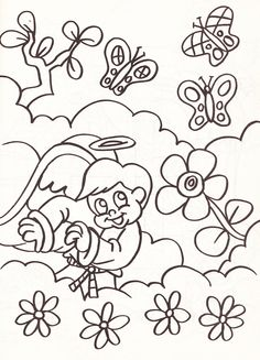 from an Angels coloring book - boy angel with flowers and butterflies in the clouds