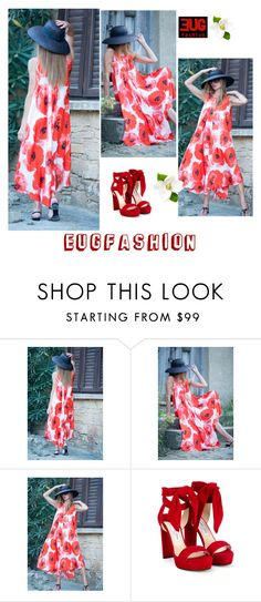 """Party Maxi Dress by EUGfashion"" by eug-fashion ❤ liked on Polyvore featuring Jimmy Choo and EUGfashion"