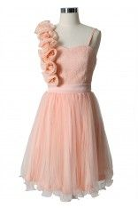3D Flower Fluted Hemline Tulle Dress in Peach..without the flowers it is a perfect girly girl dress with flowers wedding brides maid dress