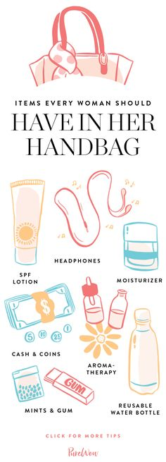Here's our list of handbag essentials to keep you hydrated, plugged-in and, of course, chic.
