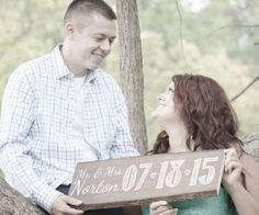 LOVE LOVE LOVE this Personalized Wood Wedding Sign! It is perfect as an engagement photo prop or wedding decor that you can hang in your home after the wedding!
