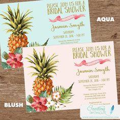 Tropical Bridal Shower Invitation | Luau, Pineapple, Hawaiian, Aloha, Couples Shower
