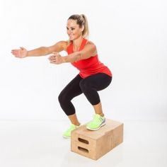 Stand to the side of step, with left foot on top of step. Lower into a squat, reaching both arms straight out in front of chest.
