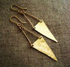 geometric drop earrings Long Pennant Banner by OneWorldTwoHands, $26.00