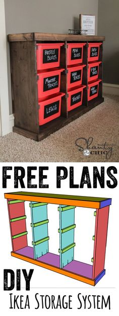 Free Plans DIY Storage Idea… LOVE this for toys or anything! Cheap and easy too! www.shanty-2-chic.com #storagefurnitureideas