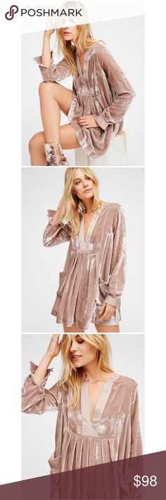 """RARE Free People Choose Me Velvet Mini size small 🦄 Size small. Originally $128. Still on the Free People website, but sold out in all sizes except one!! Selling for $90+ everywhere. RARE! """"The perfect dress for this season, this gorgeous mini features a romantic velvet design with silky accents at the V-neckline and sleeve cuffs. Color is rose gold. Slouchy front pocket details. Effortless silhouette."""" Two slouchy front pockets Material is viscose & nylon. #retro #70's 🦄 Free People…"""