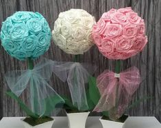 3 PC topiary centerpiece ,baby shower,bridal shower,baptism,communion centerpice