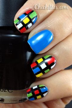 For the 80s party I am going to - Rubik's Cube Nails