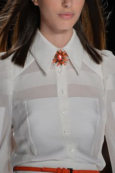 """""""A pop of electric orange for a lace blouse and dress."""" Carolina Herrera Spring 2013 RTW"""