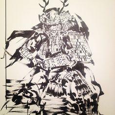Late night sketch, been on a samurai and ocean life kick #sketch #art #samurai #dude