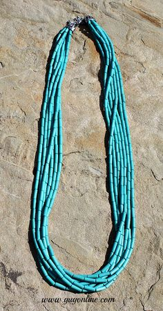 Seven Strands of Long Turquoise Necklaces  www.gugonline.com