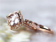Floral Morganite Wedding Set 14k Rose Gold 7MM Pink by InOurStar