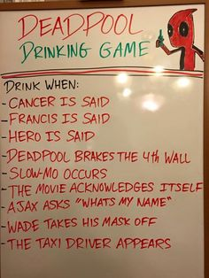 Bolster your chimichanga lunch with the Deadpool drinking game