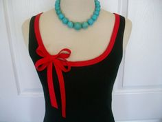 Embellished Tank Top with Red Ribbon Trim and door RaspberryMarket