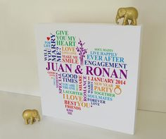 """Gay Engagement rainbow canvas. A perfect gift to celebrate the day they asked """"will you marry me?""""    You don't have to have rainbow colours - this can be personalised any way you like!    This personalised engagement gift is ideal for a very special couple as a keepsake of their memorable moment in time. Personalised with some of your own words and colours to make it a totally unique gift."""