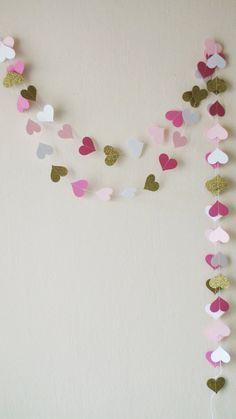 Pink Fuchsia Gold glitter Paper Garland 10ft Paper by HelenKurtidu