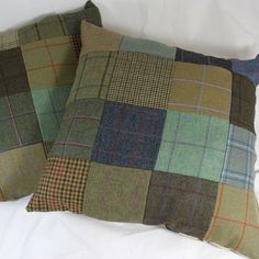 Giant Tweed Patchwork cushions ~t~ Applique Cushions, Patchwork Cushion, Sewing Pillows, Wool Pillows, Wool Applique, Tartan Decor, Wool Quilts, Crazy Patchwork, How To Make Pillows