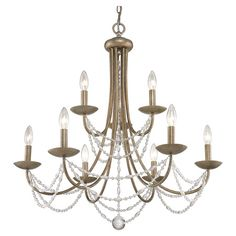 Sweeping 9-light candelabra-inspired chandelier with a gold finish and glass bead draping.    Product: ChandelierCo...