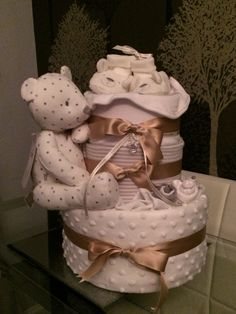 Beautiful 3 tier Neutral Nappy Cake for parents to be!
