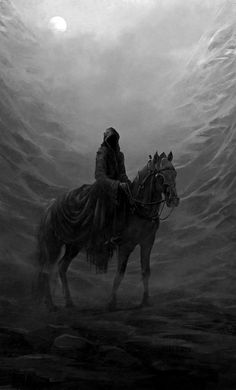 The Nazgûl were they, the Ringwraiths, the Enemy's most terrible servants; darkness went with them, and they cried with the voices of death. Dark Fantasy Art, Fantasy World, Dark Art, The Ancient Magus, J. R. R. Tolkien, Fantasy Inspiration, Lord Of The Rings, Middle Earth, Fantasy Characters