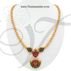 Trendy Dazzling Ruby Emerald Stones Pendant with chain Gold Mangalsutra Designs, Gold Earrings Designs, Gold Jewellery Design, Gold Necklace Simple, Gold Jewelry Simple, Stone Jewelry, Pendant Jewelry, Pearl Chain, Gold Bangle Bracelet