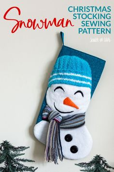 Get the free snowman stocking sewing pattern. This easy sewing tutorial and pattern can be made by any sewing level. Christmas Stocking Pattern, Christmas Snowman, Christmas Stockings, Christmas Things, Christmas Ornaments, Christmas Sewing Projects, Craft Projects, Craft Ideas, Sewing Patterns Free
