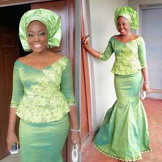 """Nigerian Wedding Presents """"Rise Of The Monotone Aso-ebi""""- Check Out Latest Aso-ebi Styles & Classy Fabrics To Inspire You This 2015 African Dresses For Women, African Print Dresses, African Attire, African Wear, African Women, African Prints, Indian Attire, Ankara, Latest Aso Ebi Styles"""