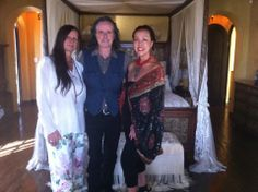 Sue Wong with my houseguests, the iconic singer Donovan Leitch with his wife Linda at my home, The Cedars, Hollywood Hills