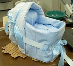 Diaper Baby Shower Bassinet: Diaper Baby Shower Bassinet   1 package of diapers -about 50 of the 8-14 lbs for the inside ($6.00)  1 -$2 receiving blanket from Wally World  2 - larger,