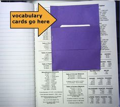 Interactive Notebooks- Words Worth Knowing. I want to do this next year. As a warm up each day have vocabulary terms written on the board. Students will have to create vocab cards and keep them in the back of their notebook for each unit. I thought maybe using an envelope for every unit's vocabulary.