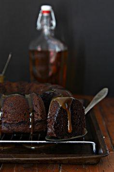 Chocolate Bourbon Bundt Cake with Bourbon Caramel Sauce