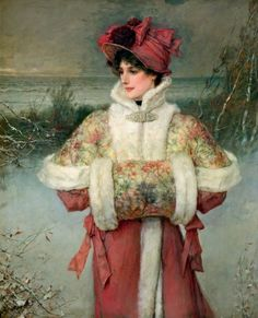 """Such A Beautiful Painting! ~ ♀ """"The Lady In The  Snow"""" ~ George Henry Boughton."""