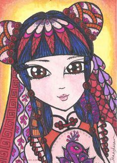 ACEO Original zentangle anime Chinese girl pink purple peacock dress drawing #Miniature