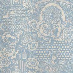 Light Blue Flock Floral Toile Wallpaper