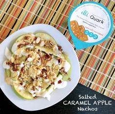 An Apple A Day...  Slice up a Green Apple, add Elli Quark Sea Salt Caramel, Drizzle Peanut Butter, and Top with Almonds, Pecans & Salted Peanuts! ;)