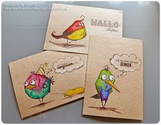 Verrückte Vögel – Crazy Birds Stamping, Cards, Art Journaling: See what beautiful things you can do with paper. Crazy Bird, Crazy Dog, Crazy Cats, Dog Cards, Bird Cards, Tim Holtz Stamps, Animal Cards, Illustrations, Creative Cards