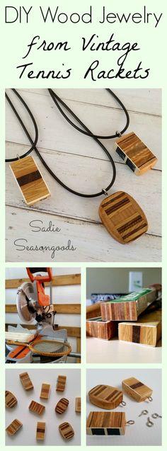 Wooden pendant necklaces from vintage wood tennis racket handles by Sadie Seasongoods / www.sadieseasongoods.com