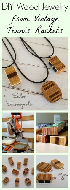 Wooden pendant necklaces from vintage wood tennis racket handles by Sadie Seasongoods / www.sadieseasongoods.com