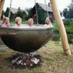 Boiler Pot Hot Tub There is Jacuzzi and jacuzzi . You can also visit our sauna, jacuzzi and steam Outdoor Baths, Outdoor Tub, Outdoor Fire, Outdoor Living, Outdoor Decor, Garden Cottage, Garden Hoe, Pergola, Exterior