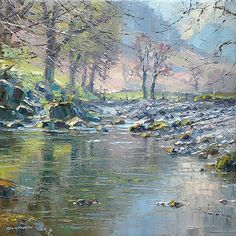 'River Derwent, near Longthwaite, Borrowdale' x oil on canvas original by Rex Preston River Painting, Oil Painting On Canvas, Landscape Art, Landscape Paintings, Acrylic Painting Inspiration, Pastel Artwork, Mural Wall Art, Great Paintings, Cool Landscapes