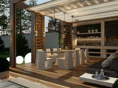 Garden Terrace Architecture Patio Ideas For 2019 Exterior Siding Colors, Modern Exterior Doors, Exterior Design, Backyard Canopy, Backyard Retreat, Backyard Bbq, Curved Patio, Front Yard Decor, Terrace Design