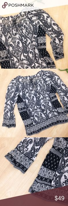 """Lucky Brand Mixed Boho Print Paisley Tunic Black & white paisley print Lucky Brand tunic. Gathered boatneck with keyhole neckline and two ties. Mixed boho prints. Loose fitting. 100% cotton. Approximately 38"""" bust, 25.5"""" long.  Excellent condition.  (B38) Lucky Brand Tops Tunics"""