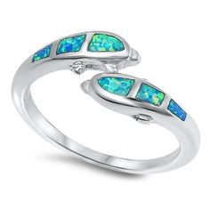 Sterling Silver Double Dolphin Design Fire Blue Opal Ring Sz 6-9 – SILVER-MAMA.COM